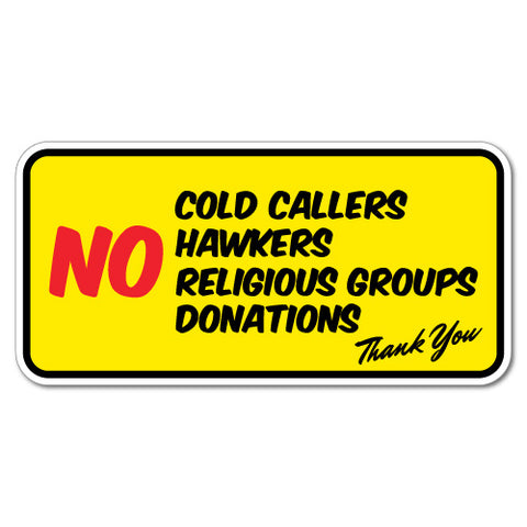 No Cold Callers Hawkers Religious Group Door Sticker