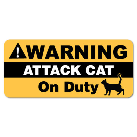 Warning Attack Cat On Duty Pet Sticker