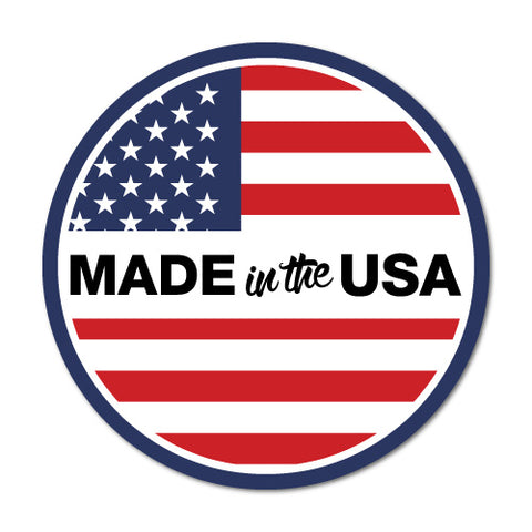 Made In The USA Round Flag America Sticker