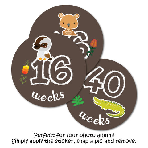 Pregnancy Belly Photo Aussie Animals Scrapbook Label Stickers