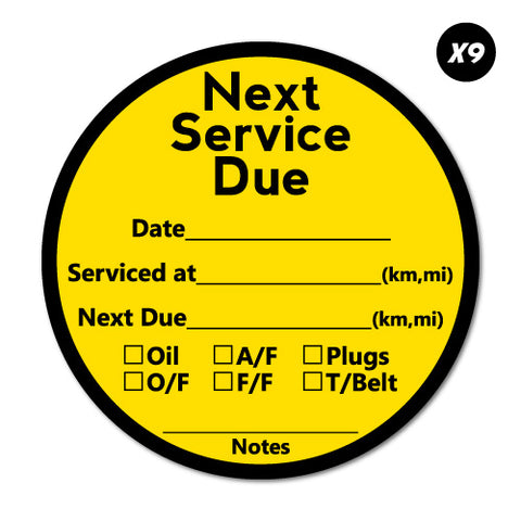 9X Next Service Due Tick List Round Sticker