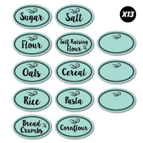 13x Kitchen Pantry Jar Labels Essentials Sticker