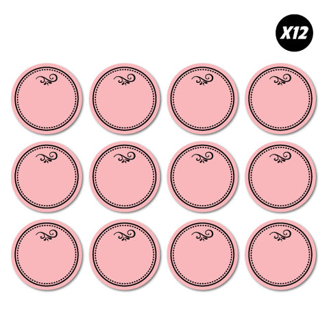 12X Pink Kitchen Pantry Organiser Labels Sticker
