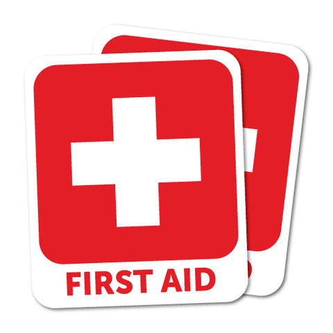 Red First Aid Sticker X2