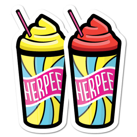 (2) Herpee Slurps Cup Funny Stickers
