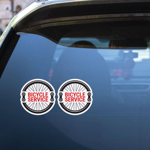 2X Bicycle Service Sticker Decal