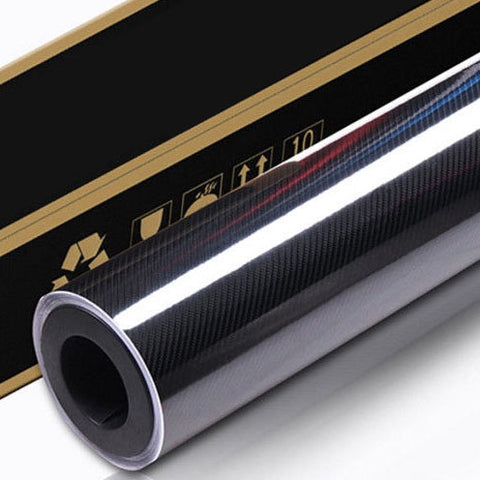 30Cm X 1.51M 6D Gloss Black Carbon Fibre Fiber Vinyl Car Wrap 4D 5D