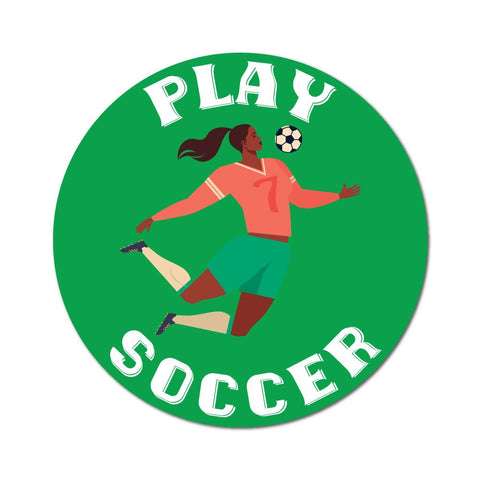 Girls Play Soccer Too Sticker Decal