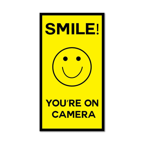 Smile You'Re On Camera Yellow Smiley Face Cctv Car Sticker Decal