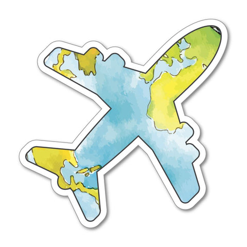 World Adventure Explore Airplane Sticker Decal