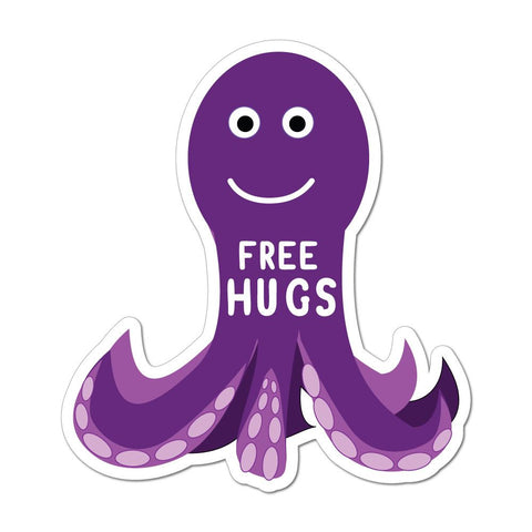 Free Hugs Cute Octopus Squid Animal Love Cartoon Friends Car Sticker Decal
