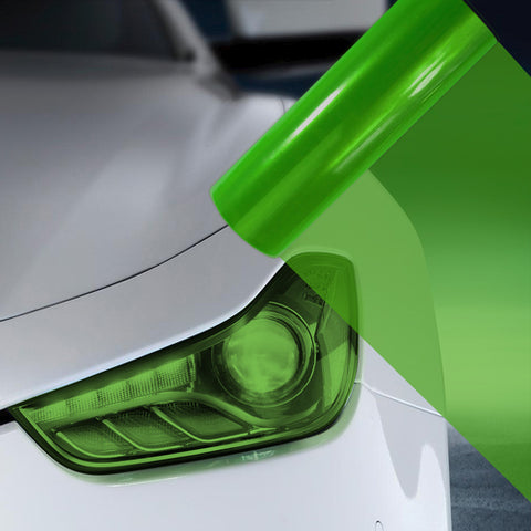 2X A4 Green Car Headlight Fog Light Tint Film