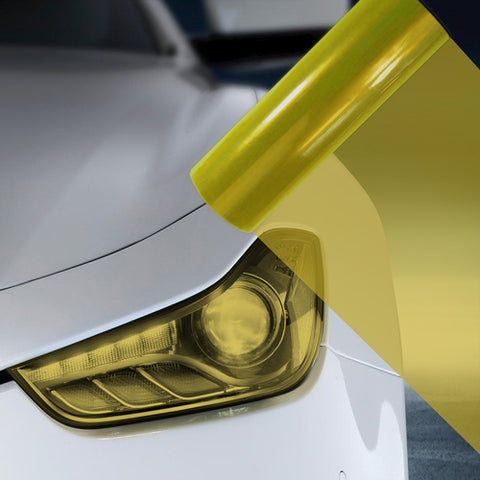 2X A4 Yellow Car Headlight Fog Light Tint Film