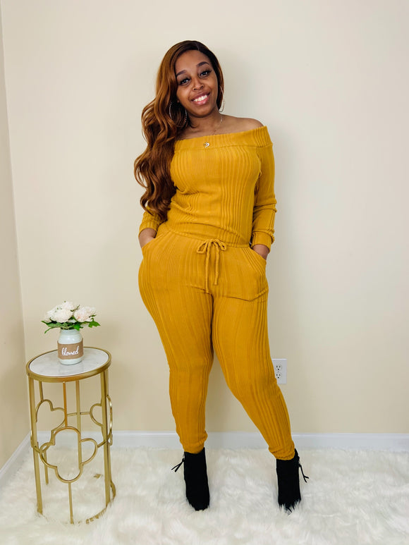 Watch Me Work | Mustard Sweater Jumpsuit