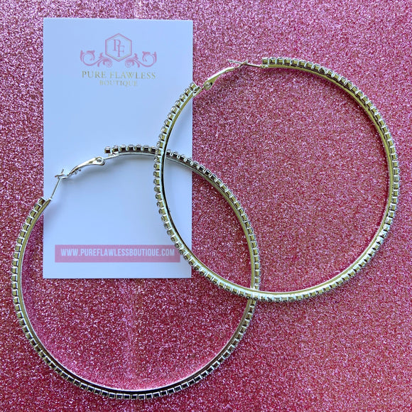 I'm Bossy | Large  Silver Rhinestone Hoop Earrings