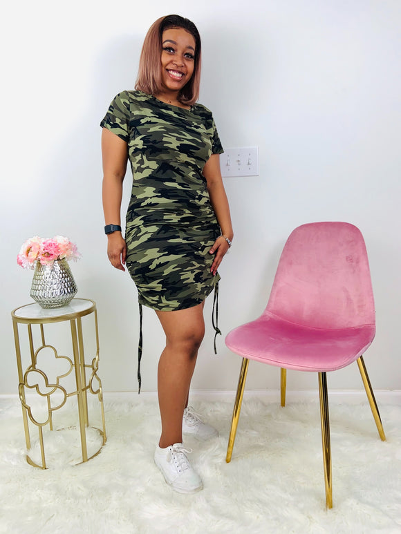 Wild Over You | Camo Scrunched Mini Dress