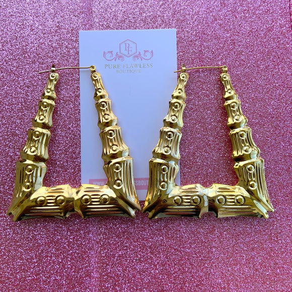 Bougie | Large Gold Bamboo Earrings