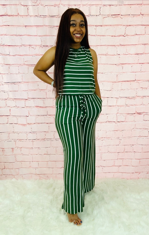 Made You Look | Olive Striped Jumpsuit