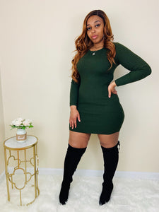 Crazy About You | Olive Sweater Dress