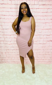 Such A Diva | Mauve Slit Button Dress