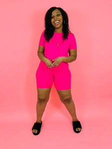 Chill Bae | Neon Fuchsia Biker Short Set