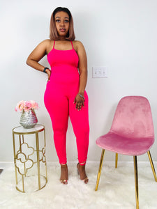 It's Like That | Fuchsia Cross Back Jumpsuit