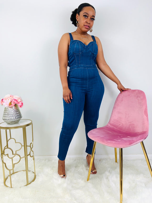 Show Stopper | Dark Denim Jumpsuit