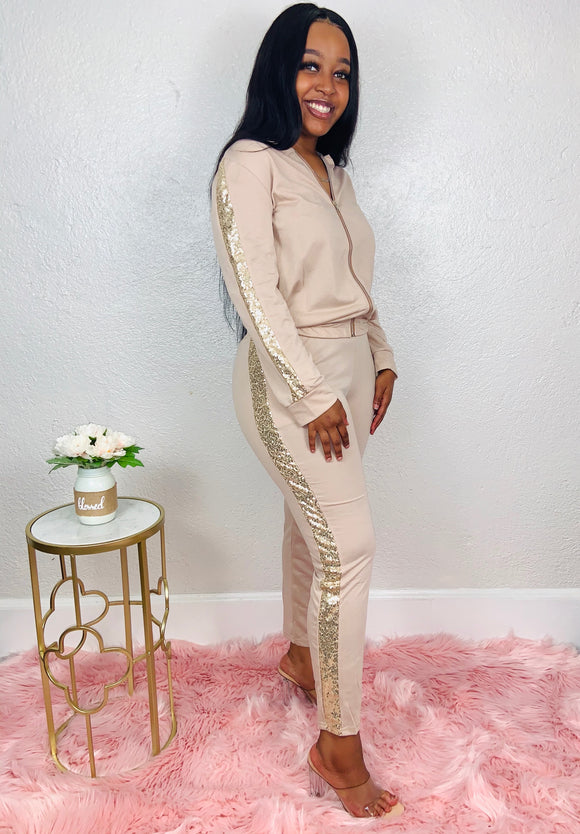 Bougie Bae | Beige/Sequin Trim Tracksuit Set
