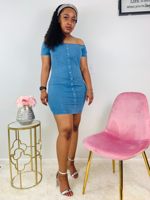 Baddies Only | Off the Shoulder Denim Dress