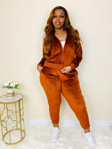 Fly Gal | Rust Velour Tracksuit Set