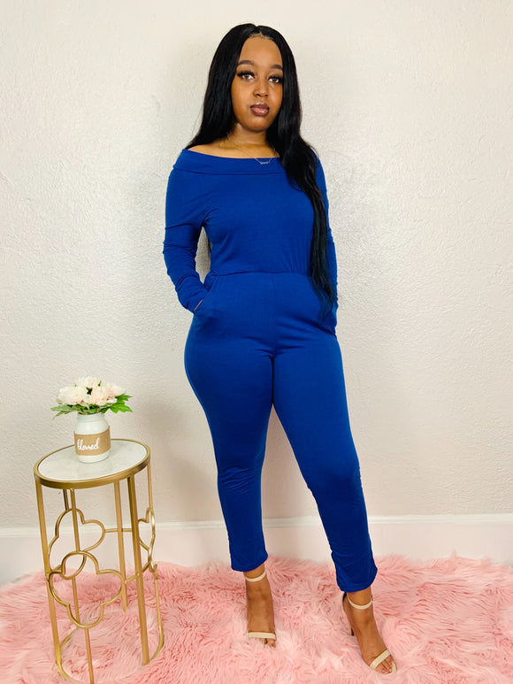 Look But Don't Touch | Royal Blue Off the Shoulder Jumpsuit
