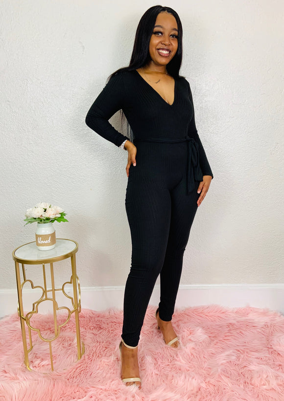 Your Favorite Girl | Black Sweater Jumpsuit