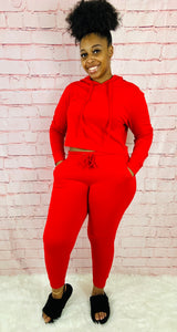 Queen of Chill | Red Jogger Set