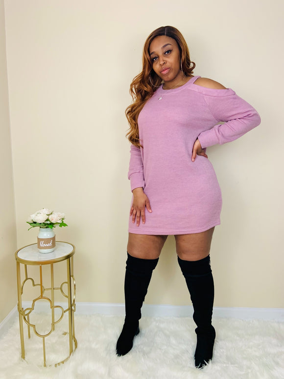 Baddie Bae | Blush Sweater Mini Dress