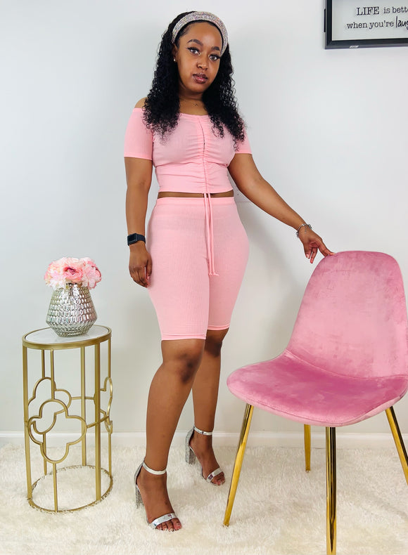 Pretty Girl | Pink Biker Short Set