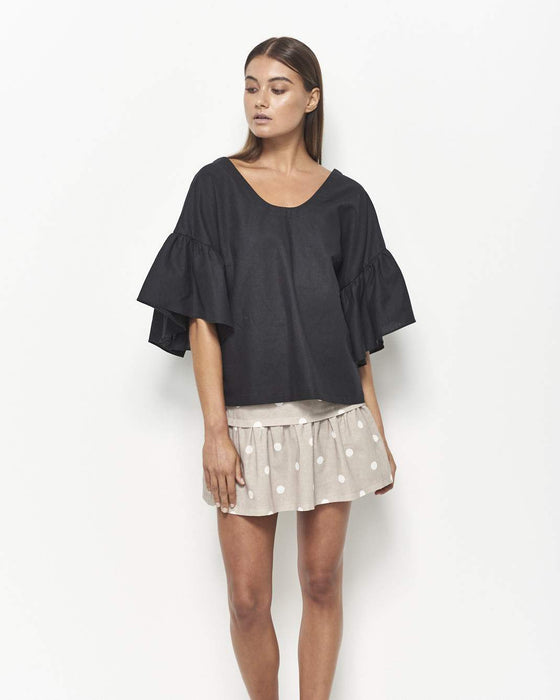 Kira Linen Cotton Top (Black)