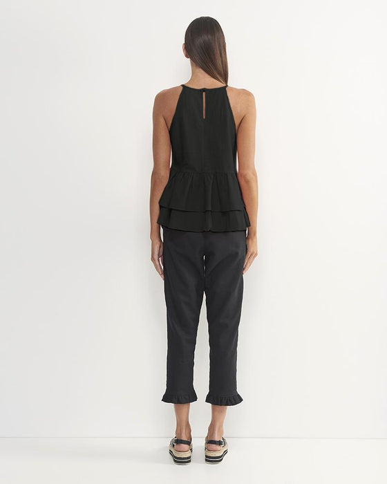 Andre Linen Cotton Top (Black)