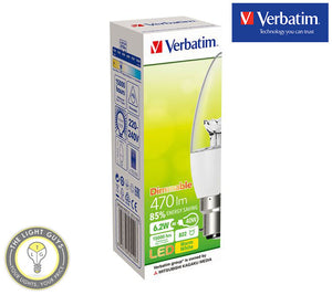 VERBATIM LED Candle Clear 6W 240V SES|SBC|ES|BC 2700K Dimmable - TheLightGuys