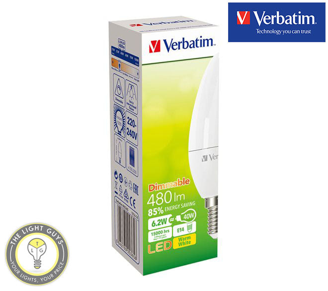 VERBATIM LED Candle Frosted 6W 240V SES|SBC|ES|BC 2700K Dimmable - TheLightGuys