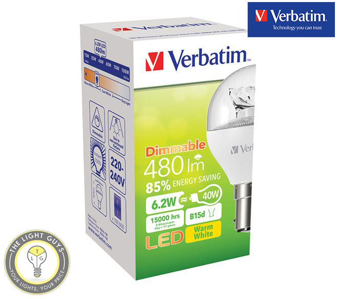 VERBATIM LED Fancy Round Clear 6W 240V SES | SBC | ES | BC 3000K Dimmable - TheLightGuys