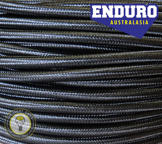 ENDURO Cable Braided 3-Core Black - TheLightGuys