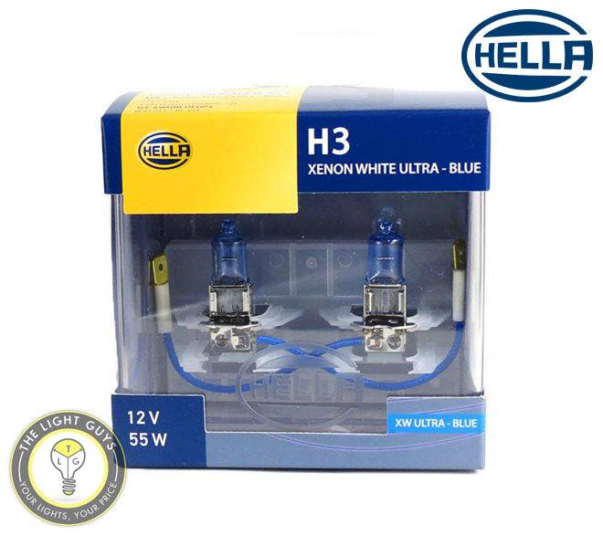 HELLA H3 Headlight Set 55W 12V PK22s Xenon Blue - TheLightGuys
