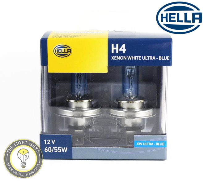 HELLA H4 Headlight Set 60/55W 12V P43t Xenon Blue - TheLightGuys