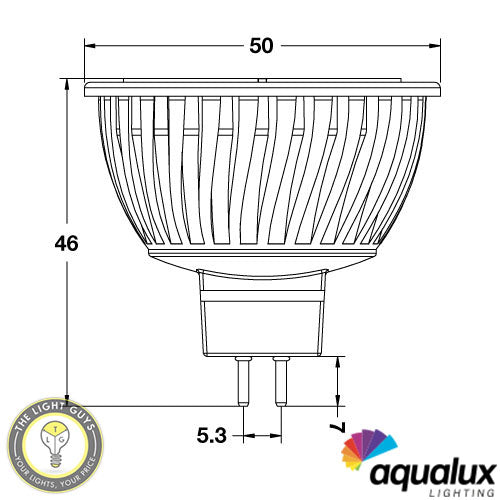 AQUALUX LED MR16 4w 12-24v GX5.3 3000k | Blue | Red | Amber | 40deg° Non Dim - TheLightGuys