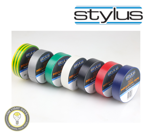 STYLUS 520 18mm x 20M Insulation tape - Blue | Red | White | Yellow/Green - TheLightGuys