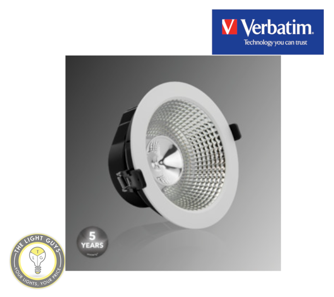 VERBATIM LED Recessed Low Glare Downlight 15W 3000K | 4000K IP40 170mm 40° White Dali Dimmable - TheLightGuys