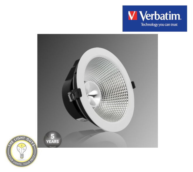 VERBATIM LED Recessed Low Glare Downlight 20W | 30W 3000K IP40 220mm 40° White Dali Dimmable - TheLightGuys