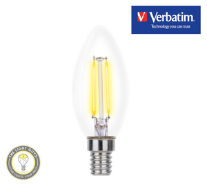 VERBATIM Filament LED Candle 4.5W Clear Dome Dimmable Globes 2700K E14 | E27 | B15 | B22 - TheLightGuys