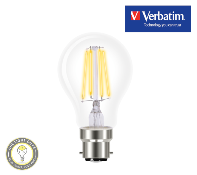 VERBATIM Filament LED Classic A 5W Clear Dome Dimmable Globes 2700K E27 | B22 - TheLightGuys