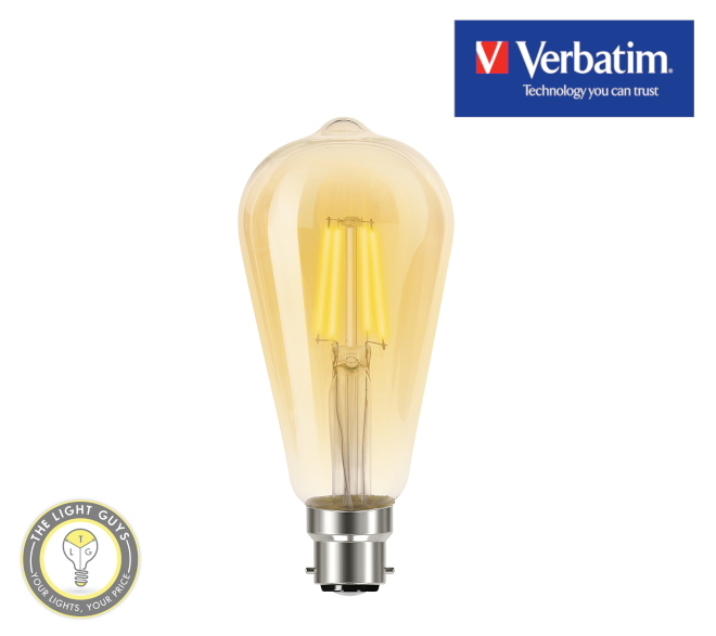 VERBATIM Filament LED Amber Dome  ST58 4.5W 2700K Dimmable E27 | B22 - TheLightGuys